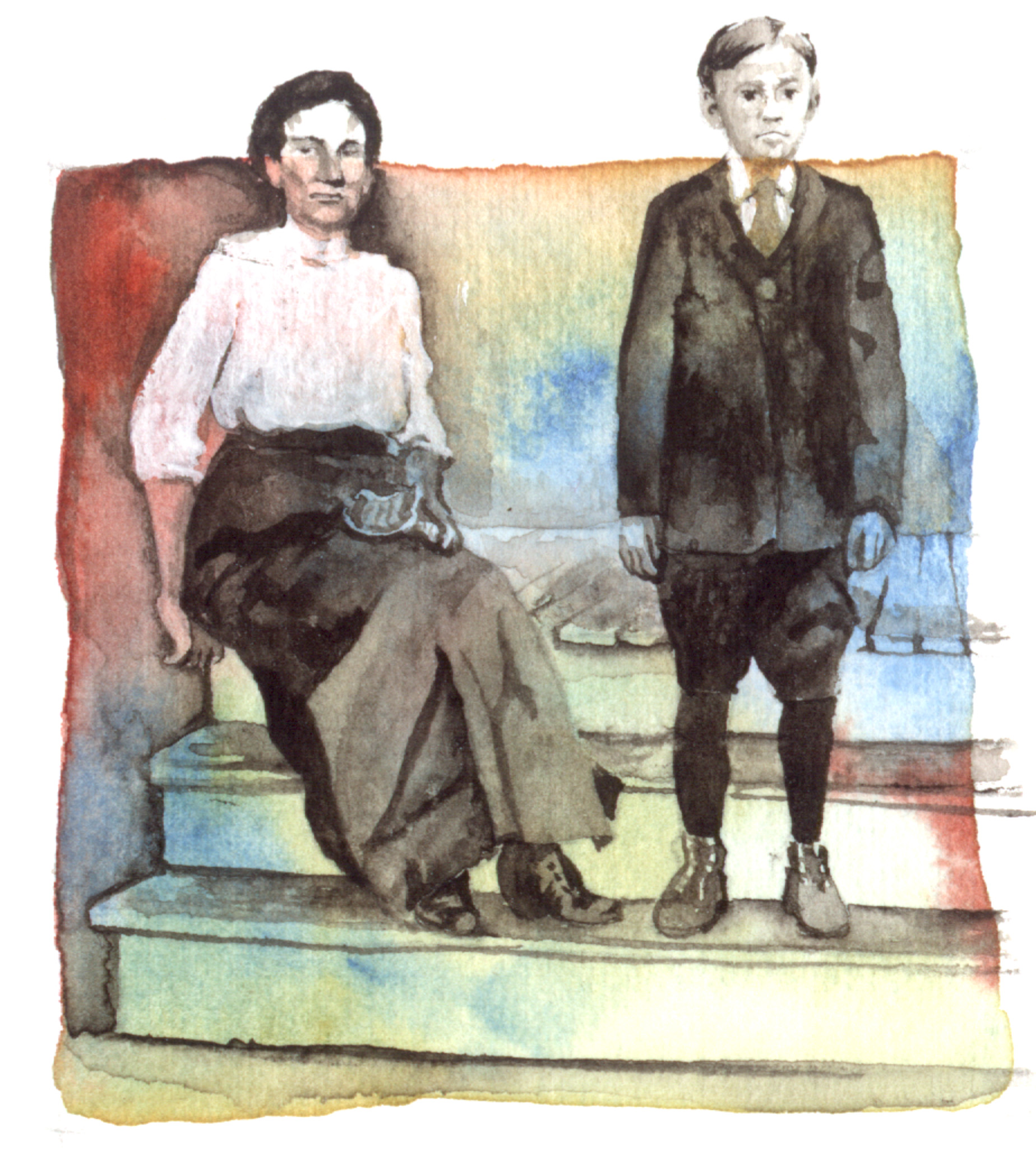 Image from about 1907 of boy with his mother.