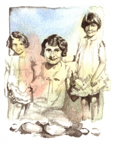 Two little girls in frilly dresses with their mom