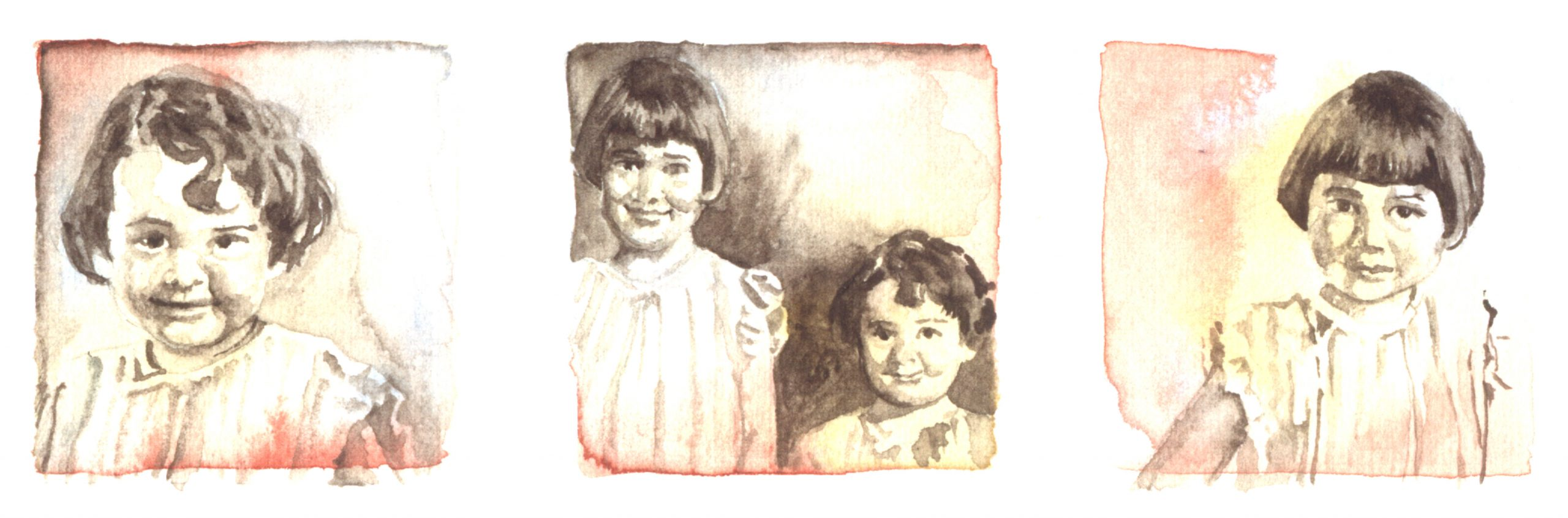 Three images of 2 little girls