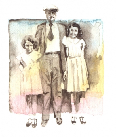 2 girls with their father, about 1934