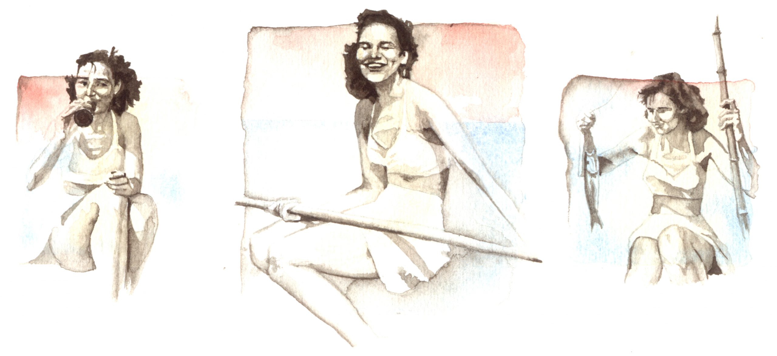 Three images of young woman fishing