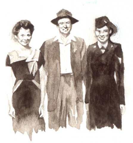 Two young women with their father. One of the women is in uniform.