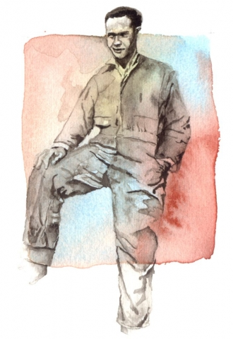 Young man in coveralls