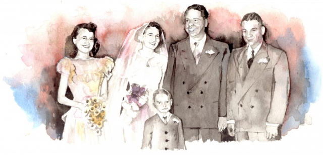 Wedding photo of bride and groom, matron of honor, best man