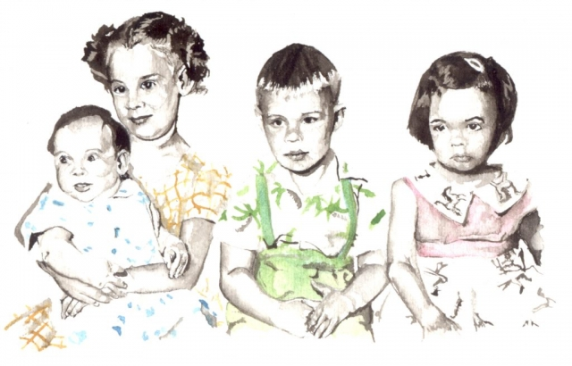 Four young children
