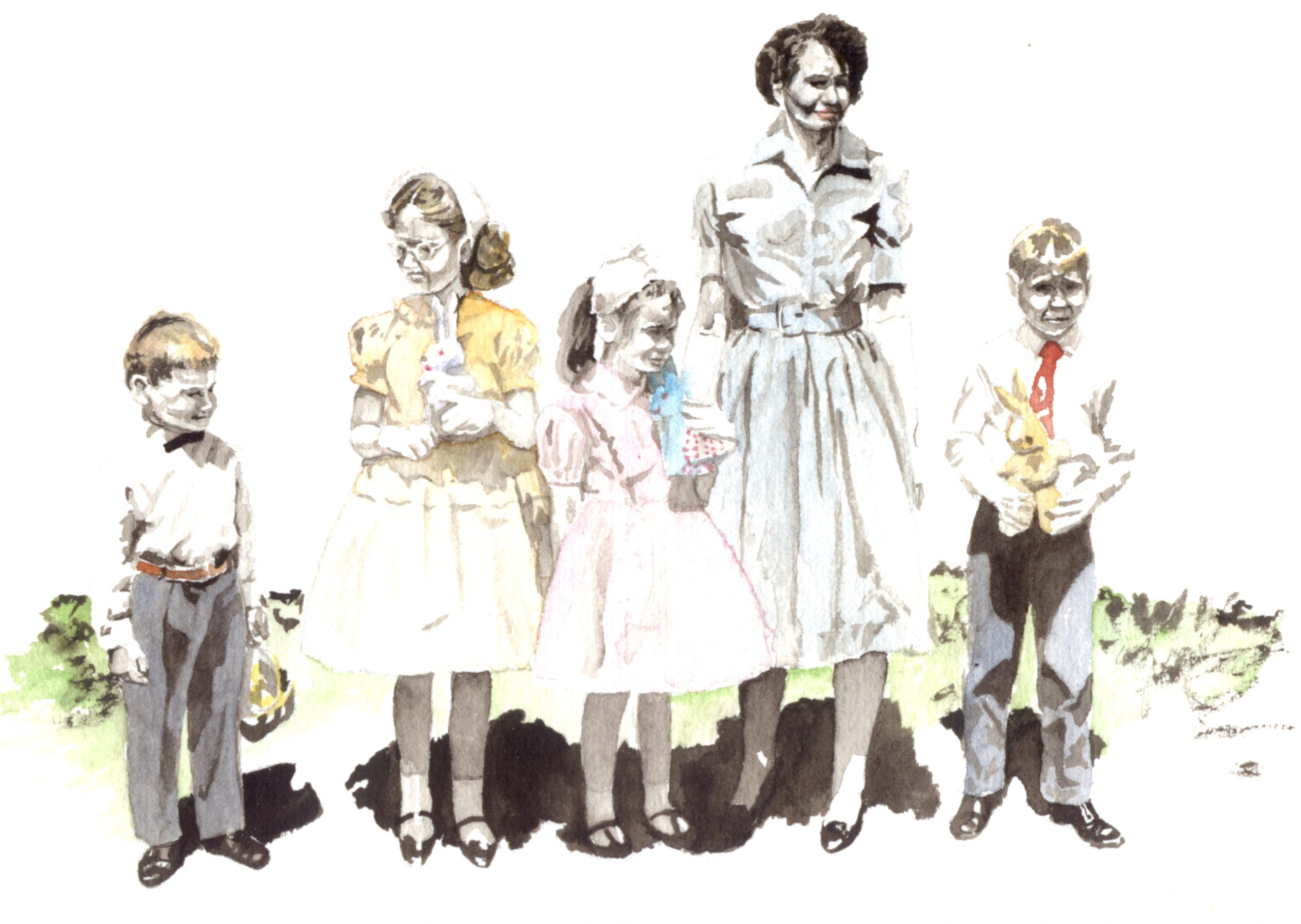 4 children with mother dressed for Easter Sunday