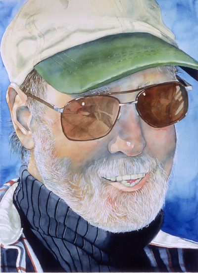 Painting of man with cap and sunglasses