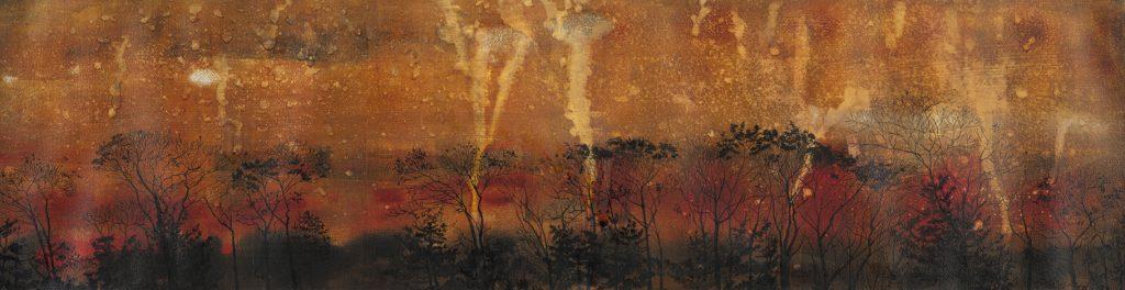 Dark trees against firy background